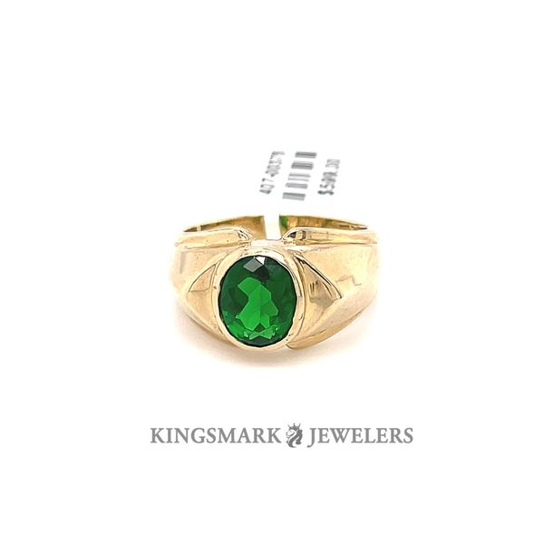 10K Yellow Gold Men's Ring with Green Stone Kingsmark Jewelers Jacksonville, FL