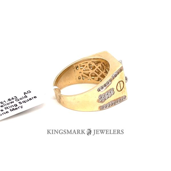 10K Yellow Gold CZ Men's Ring Square 2-Tone Mary Image 2 Kingsmark Jewelers Jacksonville, FL