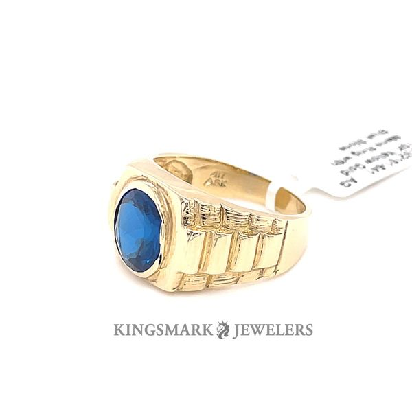 10K Yellow Gold Men's Ring with Blue Stone Image 2 Kingsmark Jewelers Jacksonville, FL