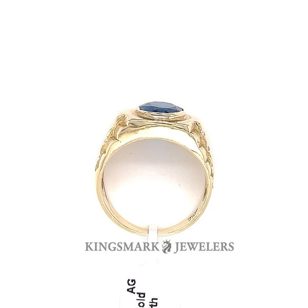10K Yellow Gold Men's Ring with Blue Stone Image 3 Kingsmark Jewelers Jacksonville, FL