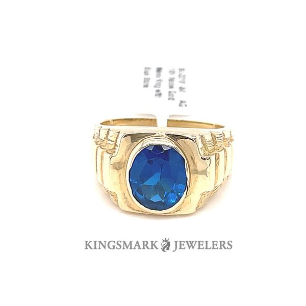 10K Yellow Gold Men's Ring with Blue Stone Kingsmark Jewelers Jacksonville, FL