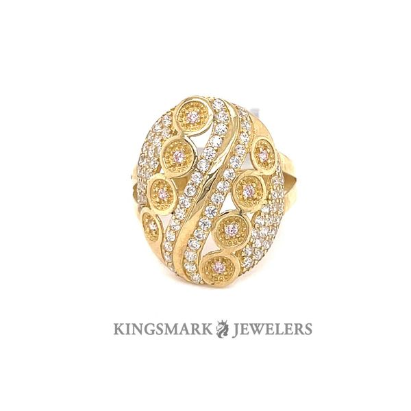 10K Yellow Gold CZ Ladies Ring Image 2 Kingsmark Jewelers Jacksonville, FL