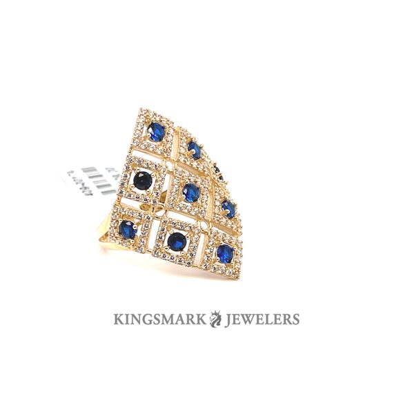 10K Yellow Gold Fancy Ladies Ring CZ & Blue Stones Image 2 Kingsmark Jewelers Jacksonville, FL