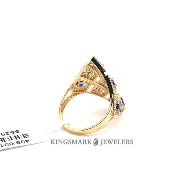 10K Yellow Gold Fancy Ladies Ring CZ & Blue Stones Image 3 Kingsmark Jewelers Jacksonville, FL