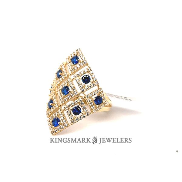 10K Yellow Gold Fancy Ladies Ring CZ & Blue Stones Kingsmark Jewelers Jacksonville, FL