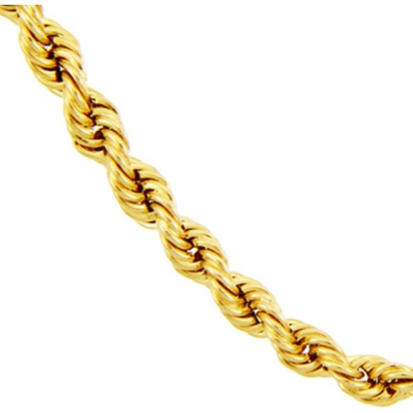 14K Yellow Gold Solid Rope Chain 2.5mm 18