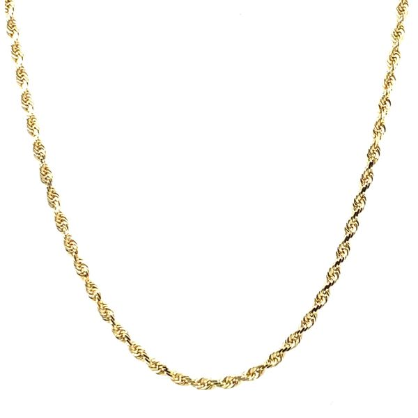 14K Yellow Gold Solid Rope Chain 1.5mm 22
