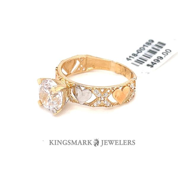 14K Yellow Gold 3-Tone CZ Ladies Ring Image 2 Kingsmark Jewelers Jacksonville, FL