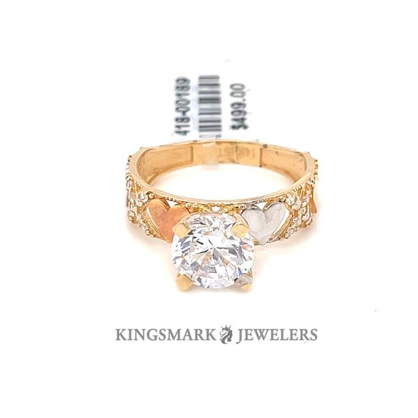 14K Yellow Gold 3-Tone CZ Ladies Ring Kingsmark Jewelers Jacksonville, FL