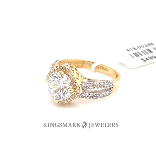 14K Yellow Gold CZ Ladies Ring Image 2 Kingsmark Jewelers Jacksonville, FL
