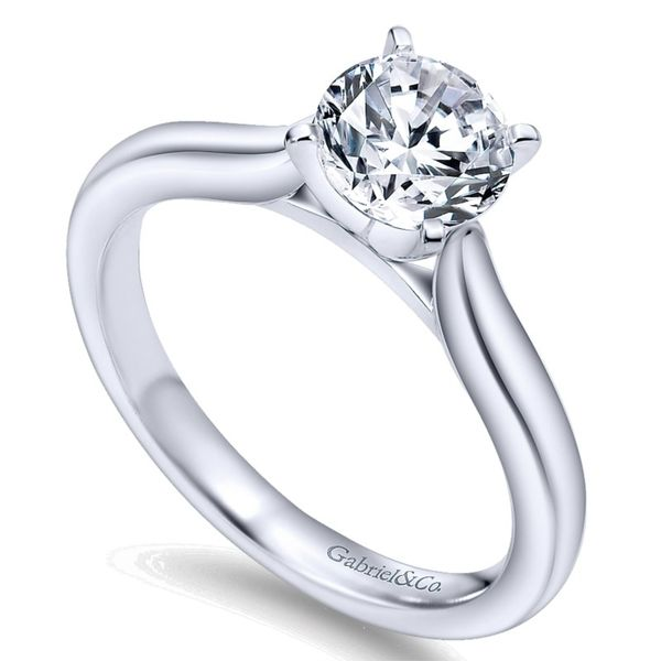 14K White Gold Round Diamond Solitaire Engagement Ring Image 2 Koerber's Fine Jewelry, Inc. New Albany, IN