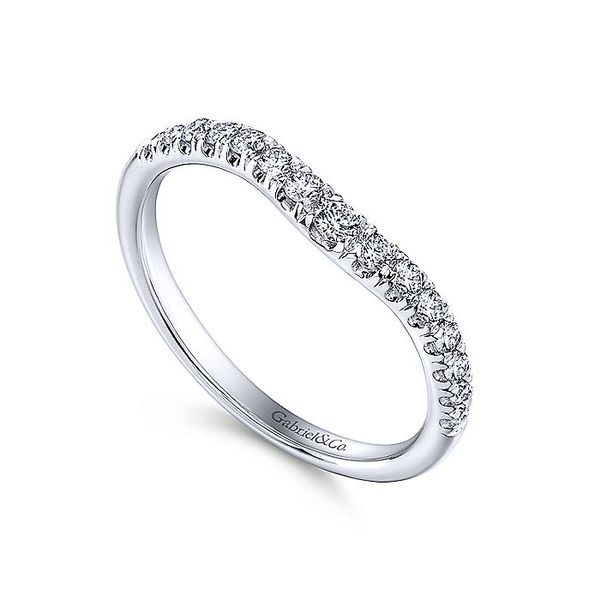 French Pave Curved Wedding Band Image 2  ,