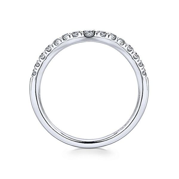 French Pave Curved Wedding Band Image 3  ,