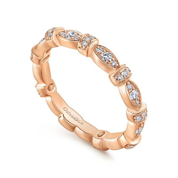 14K Rose Gold Contoured Diamond Stackable Ring Image 3 Koerber's Fine Jewelry, Inc. New Albany, IN