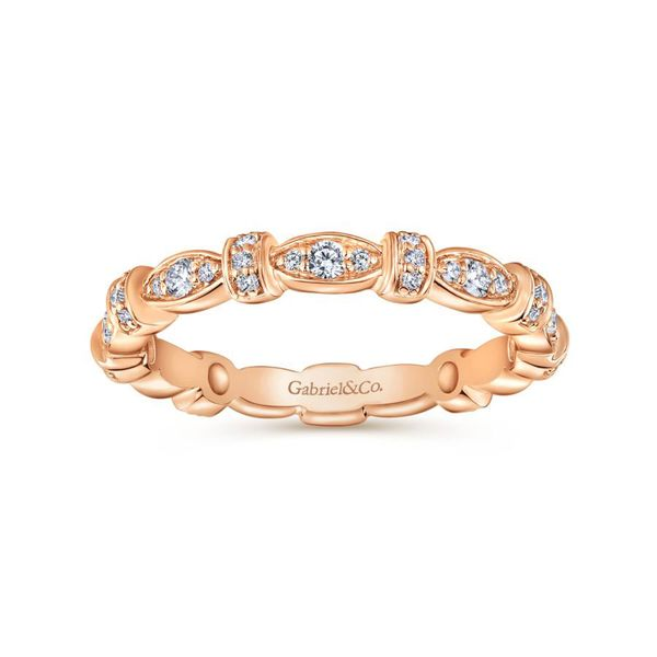 14K Rose Gold Contoured Diamond Stackable Ring Image 4 Koerber's Fine Jewelry, Inc. New Albany, IN