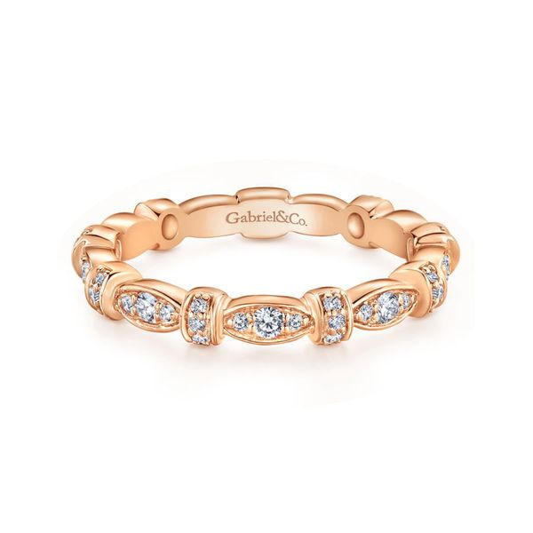 14K Rose Gold Contoured Diamond Stackable Ring Koerber's Fine Jewelry, Inc. New Albany, IN