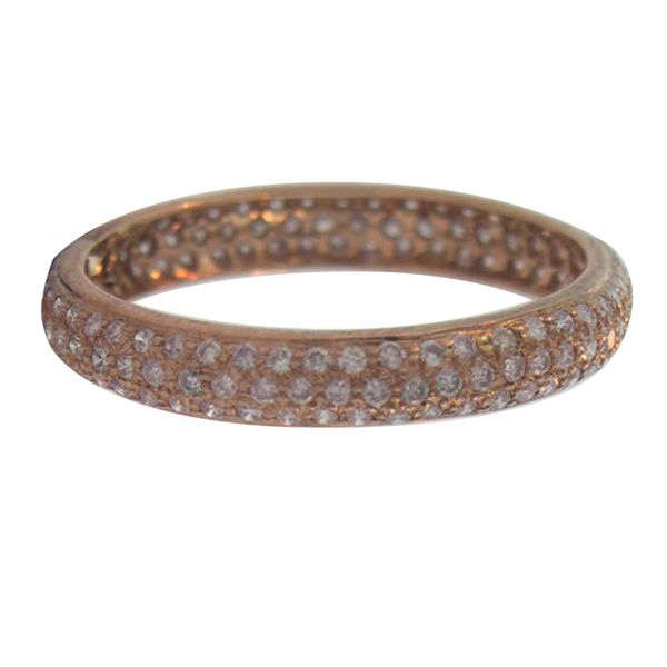 18K Rose Gold Pave Set Tire Stackable or Wedding Band Koerber's Fine Jewelry, Inc. New Albany, IN