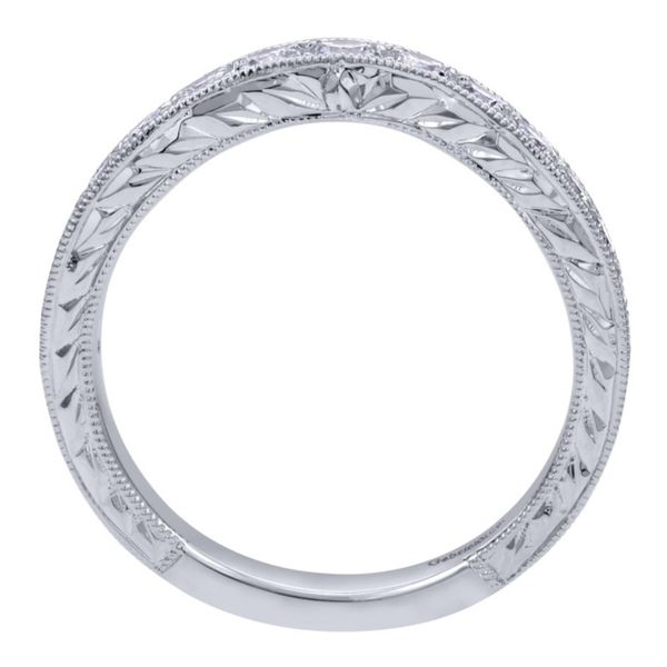 14K White Gold Vintage Hand Carved Curved Micro Pave Set Band Image 2 Koerber's Fine Jewelry, Inc. New Albany, IN