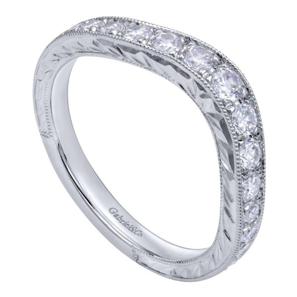 14K White Gold Vintage Hand Carved Curved Micro Pave Set Band Image 3 Koerber's Fine Jewelry, Inc. New Albany, IN