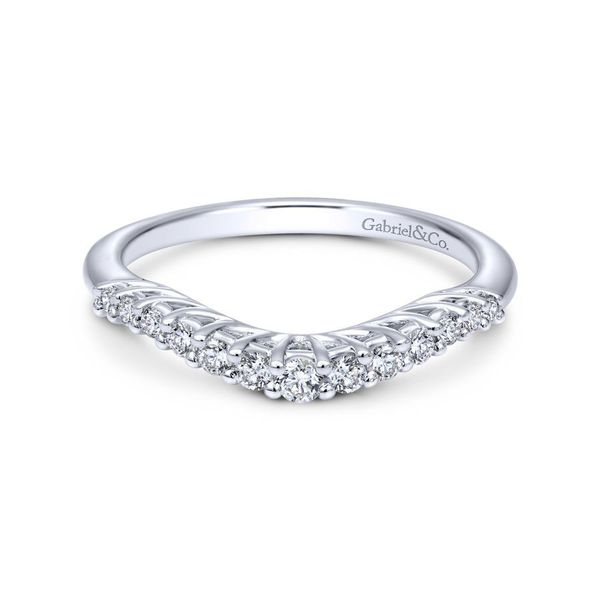 14K White Gold Curved Shared Prong Set Band Koerber's Fine Jewelry, Inc. New Albany, IN