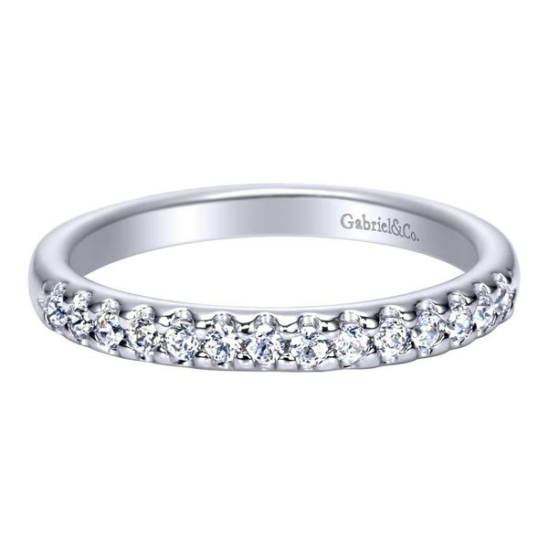 14K White Gold Shared Prong Straight Diamond Wedding Band Koerber's Fine Jewelry, Inc. New Albany, IN