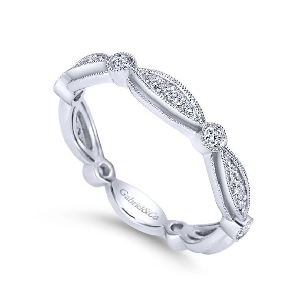 Lady's 14K White Gold Stackable Teardrop Ring Image 2  ,