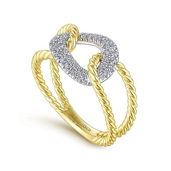14K Yellow and White Gold Twisted Chain Link Diamond Fashion Ring Image 2  ,