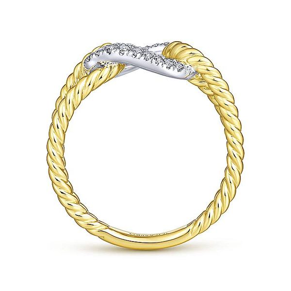 14K Yellow and White Gold Twisted Chain Link Diamond Fashion Ring Image 3  ,