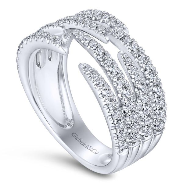 14K White Gold Open Wide Band Pave Diamond Ring Image 2 Koerber's Fine Jewelry, Inc. New Albany, IN