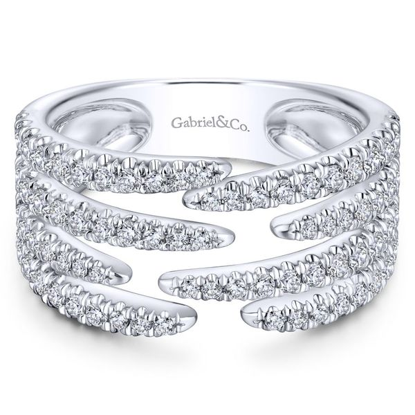 14K White Gold Open Wide Band Pave Diamond Ring Koerber's Fine Jewelry, Inc. New Albany, IN