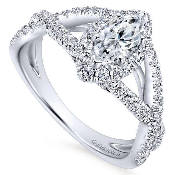 14K White Gold Marquis Halo Engagement Ring with Split Shank Image 2  ,