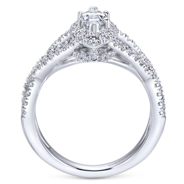 14K White Gold Marquis Halo Engagement Ring with Split Shank Image 3  ,