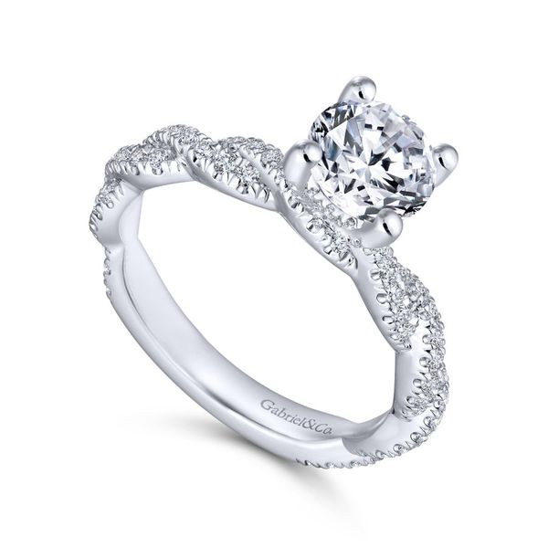 14K White Gold Twisted Diamond Engagement Ring Image 2  ,