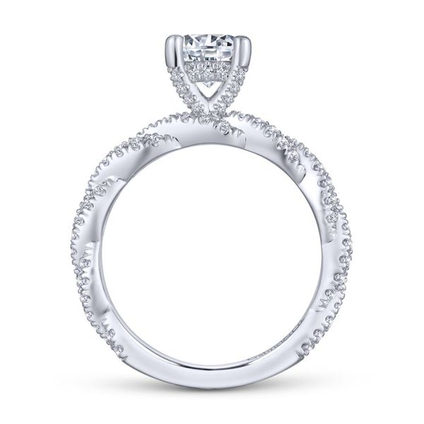 14K White Gold Twisted Diamond Engagement Ring Image 3  ,