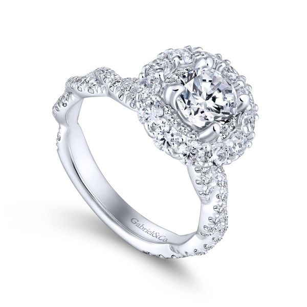 14k White Gold Double Halo Engagement Ring Image 2  ,