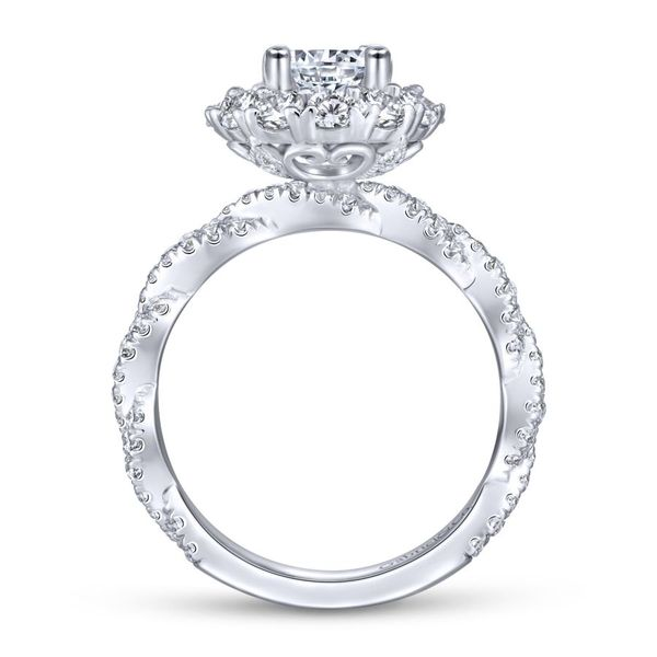 14k White Gold Double Halo Engagement Ring Image 3  ,