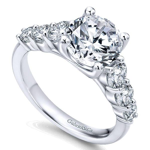 14K White Gold 7 Stone Diamond Engagement Ring Image 2  ,