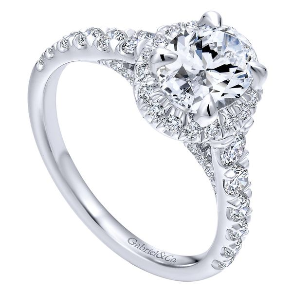 14K White Gold Oval Halo Diamond Engagement Ring Image 2  ,