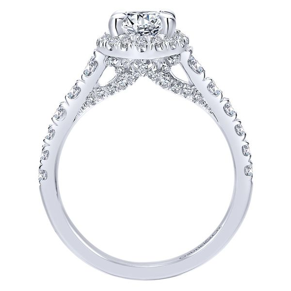 14K White Gold Oval Halo Diamond Engagement Ring Image 3  ,