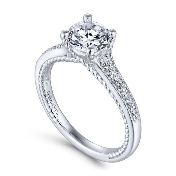 14K White Gold Round Straight Engagement Ring Image 2  ,