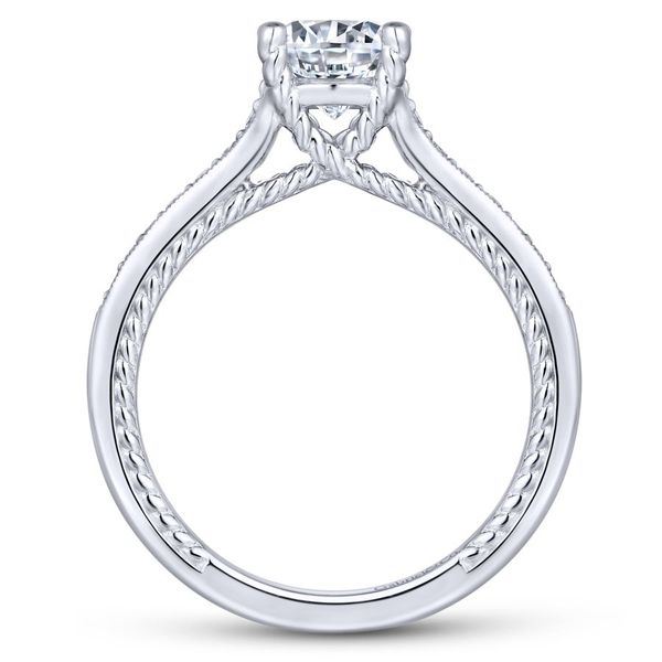 14K White Gold Round Straight Engagement Ring Image 3  ,