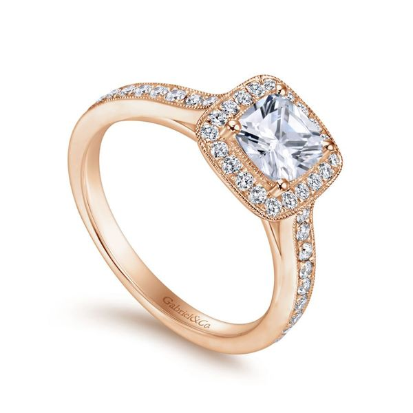 14K Rose Gold Cushion Halo Engagement Ring Image 2  ,