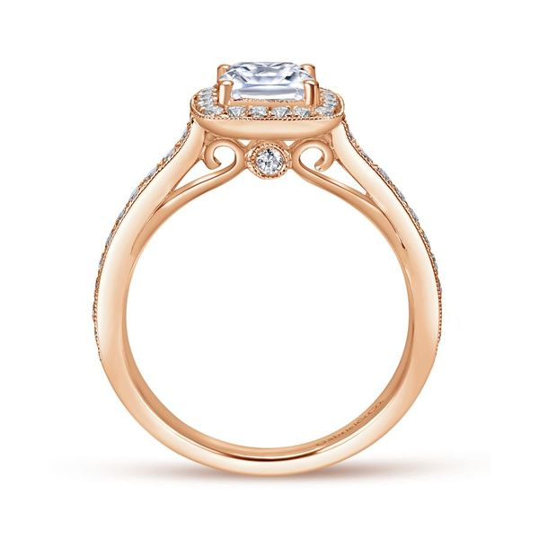 14K Rose Gold Cushion Halo Engagement Ring Image 3  ,