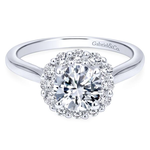 14K White Gold Round Halo Engagement Ring Koerber's Fine Jewelry, Inc. New Albany, IN