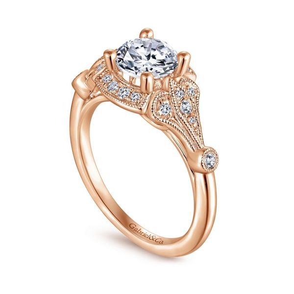 Lady's 14k Rose Gold Vintage Round Diamond Ring with Split Shank Image 2  ,