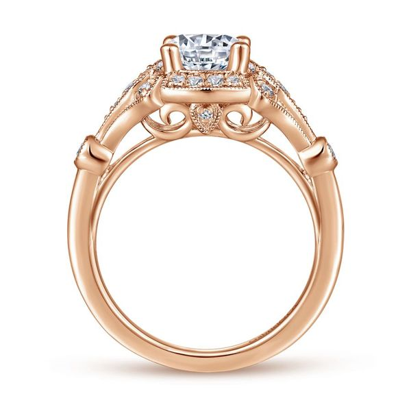 Lady's 14k Rose Gold Vintage Round Diamond Ring with Split Shank Image 3  ,