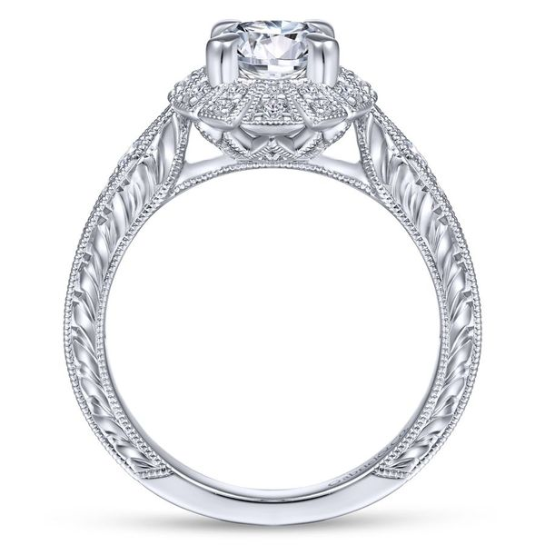 Lady's Art Deco 14k White Gold Round Halo Ring Image 3  ,