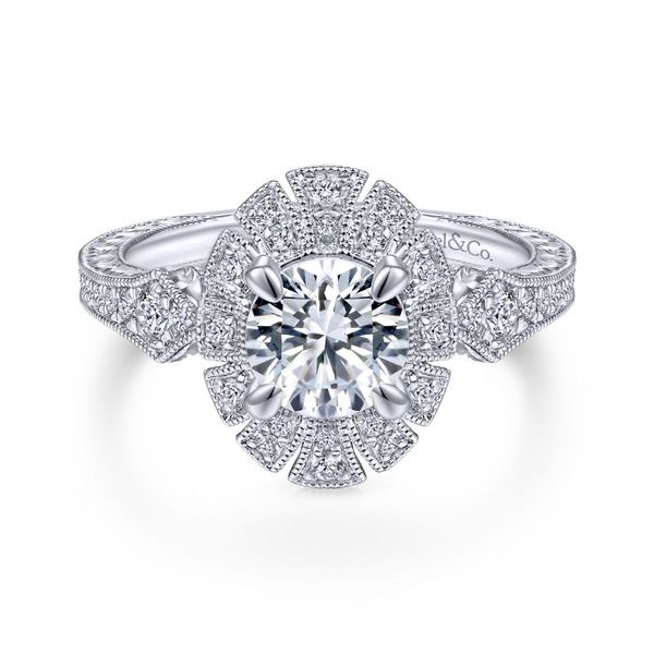 14K White Gold Art Deco Oval Halo Engagement Ring Koerber's Fine Jewelry, Inc. New Albany, IN