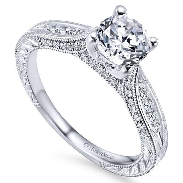 14K White Gold Vintage Inspired Engagement Ring Image 2 Koerber's Fine Jewelry, Inc. New Albany, IN