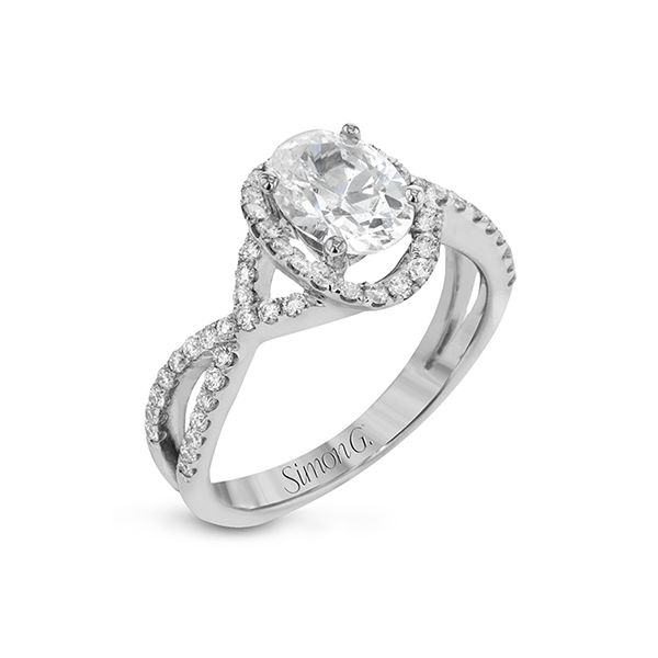 18K White Gold Oval Halo Engagement Ring Image 2 Koerbers Fine Jewelry Inc New Albany, IN